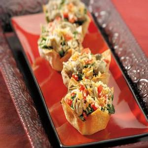 "Gulf Oysters ""almost-Rockefeller"" in Baked Wonton Cups"