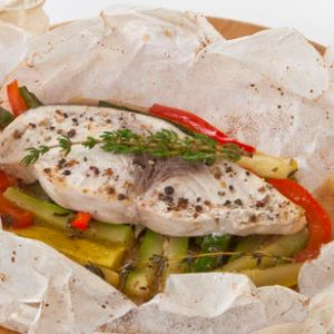 Gulf Swordfish and Vegetables Mélange Baked in Parchment Paper