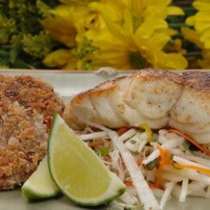 Grilled Grouper Diablo with Black Eyed Pea Cakes