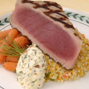 Grilled Gulf Yellowfin Tuna with Dill-Onion Butter