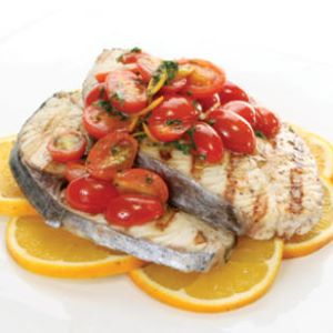 Grilled Gulf Mackerel Steaks with Citrus-Cherry Tomato Sauté