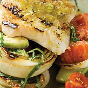 Grouper with Tomato, Avocado and Grilled Vidalia Onions with Basil-Lime Vinaigrette