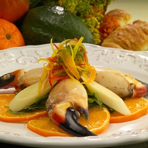 Honey Citrus Gulf Stone Crab Claws with Hearts of Palm Salad