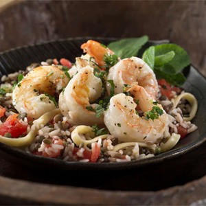 Minted Shrimp with Lentils, Rice and Pasta