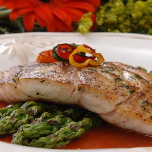 Pan-seared Snapper with Roasted Red Pepper Chili