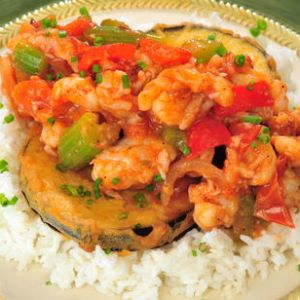 Gulf Rock Shrimp Creole with Fried Eggplant
