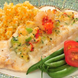 Rock Shrimp Stuffed Gulf Grouper