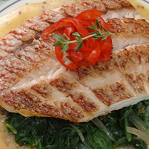 Coconut Snapper with Spinach Endive Saute