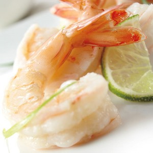 "Ginger-Poached Gulf Shrimp with Yuzu-Wasabi ""Cocktail"" Sauce"