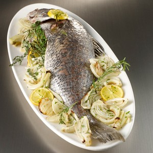 Herb-Stuffed Whole Gulf Drumfish with Roasted Fennel
