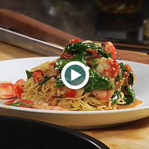 Angel Hair Pasta with Spinach, Royal Red Shrimp, Tomatoes and Basil