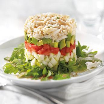 Green Apple, Avocado and Cajun-Spiced Gulf Crab Layered Salad
